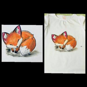 egyedi póló róka mintával