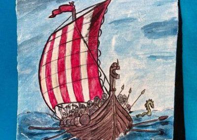 Viking hajó kamasznak készült póló