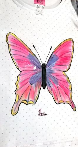 Ajándék lányoknak - egyedi gyerek póló. Állatos pólók - pillangó, lepke. Festett póló.