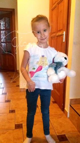 Ajándék lányoknak - egyedi gyerek póló - sellő. Festett póló.