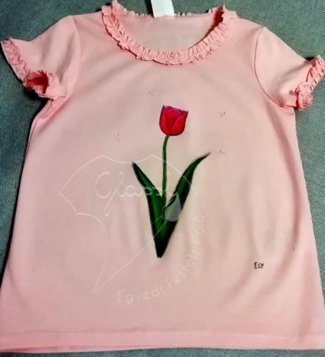 Ajándék lányoknak - egyedi gyerek póló - virágos póló - tulipán. Festett póló.