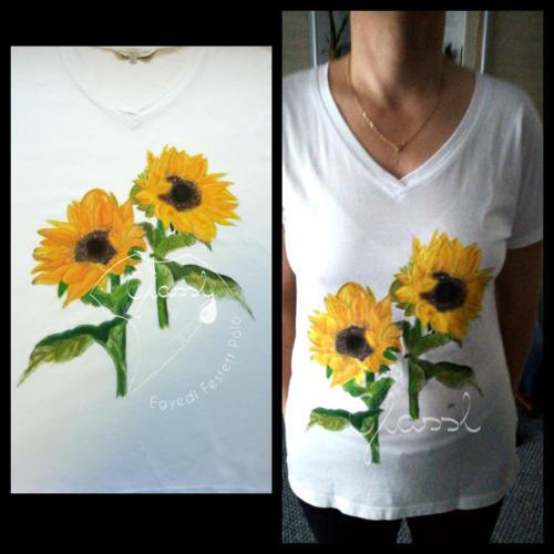 Különleges ajándék nőknek, egyedi női póló - virágos póló, napraforgó. Kézzel festett póló.