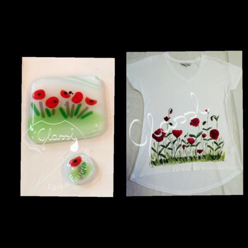 Különleges ajándék nőknek, egyedi női póló - virágos póló, pipacs. Kézzel festett póló.